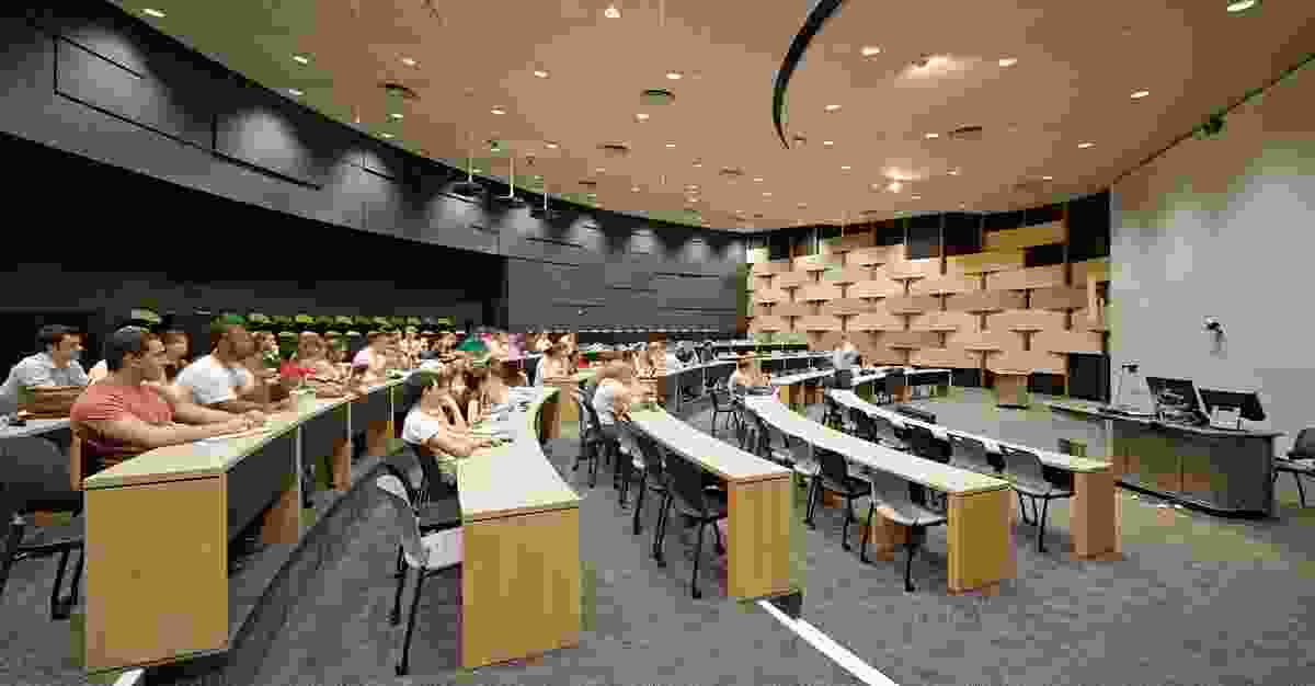 The interactive lecture theatre, contained within the larger of the two Corten-clad drums.
