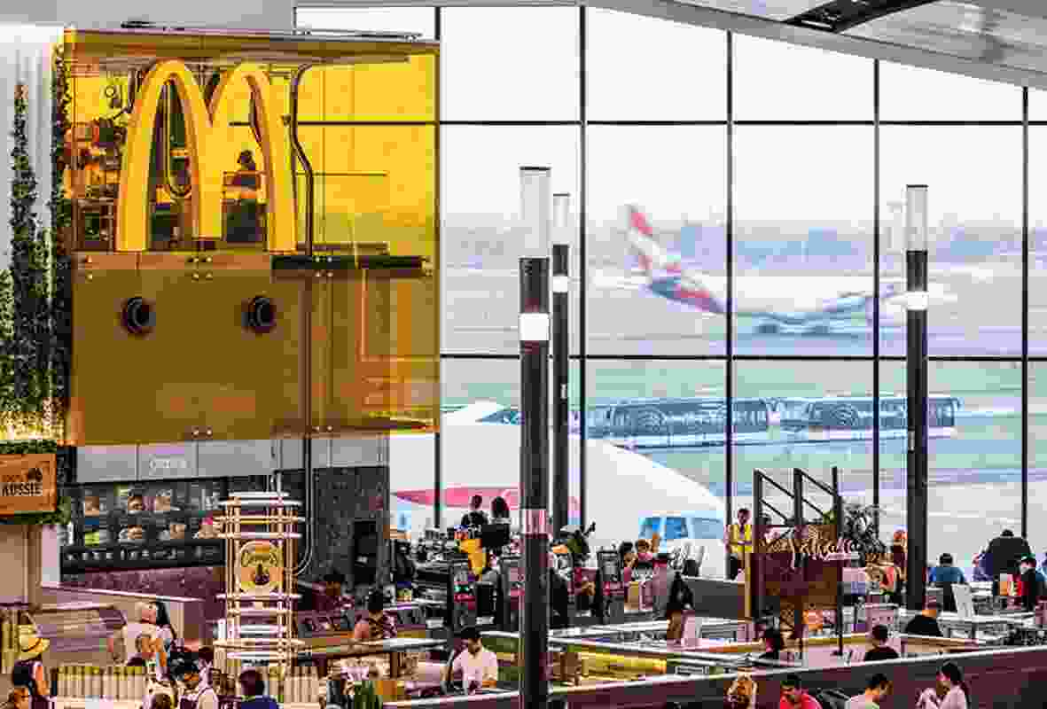 McDonalds In The Sky is located next to a large panoramic window offering customers views of aeroplanes taking off and landing.