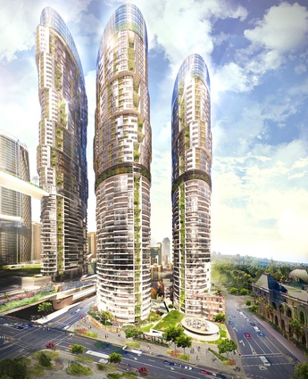 Proposed new residential towers in the proposed Queens Wharf Brisbane casino resort masterplanned by Jerde Partnership.