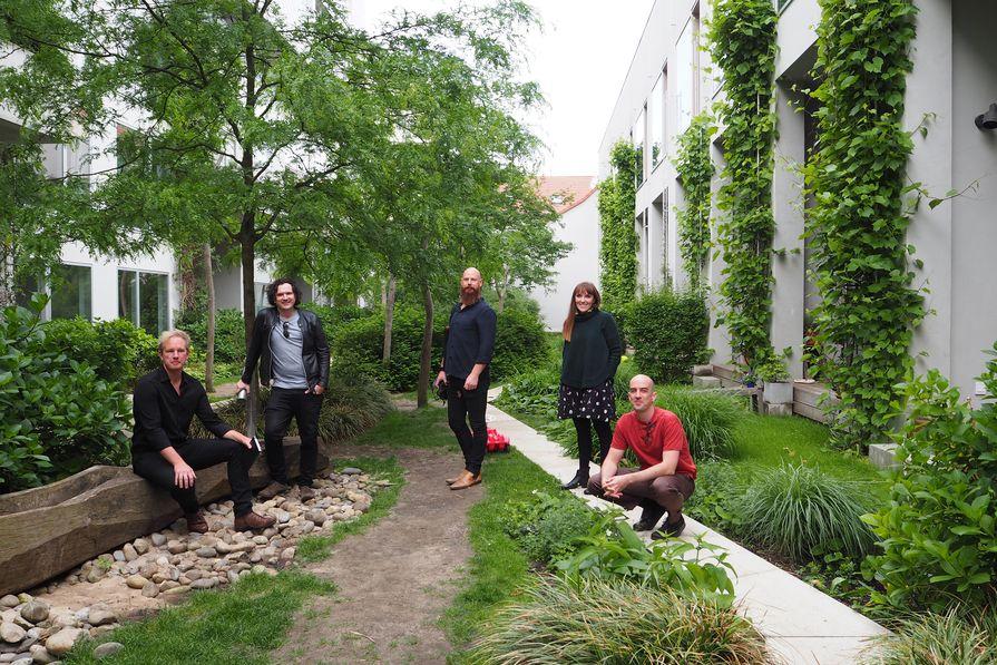 The 2018 Dulux Study Tour group. L–R: Jason Licht, Joseph O'Meara, Kim Bridgland, Leah Gallagher and Dirk Yates.