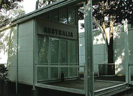 The Australian Pavilion, locked because of a lack of government support. Photograph Jill Singer.