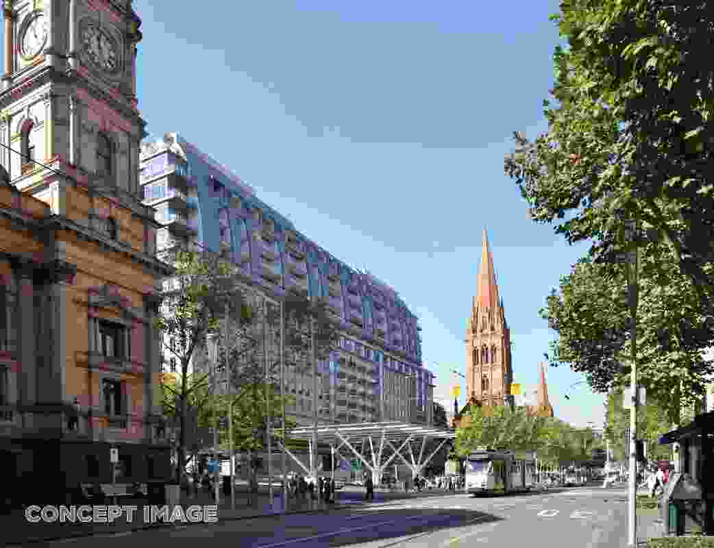 The design for Town Hall station, City Square entrance, by Hassell, Weston Williamson and Rogers Stirk Harbour and Partners.