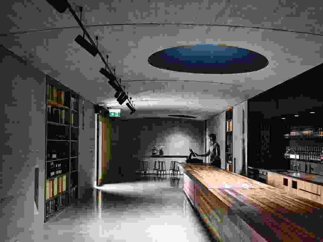 The cellar door is a shallowly vaulted linear space with a flexible plan, allowing it to serve as a wine- and produce-tasting retail space, a long banquet room and everything in between.