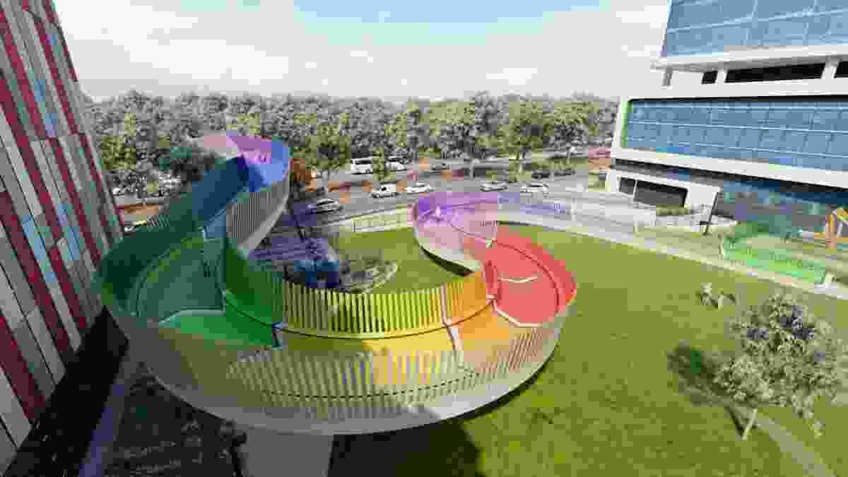 Botanical healing at the end of rainbow-coloured Kids Bridge