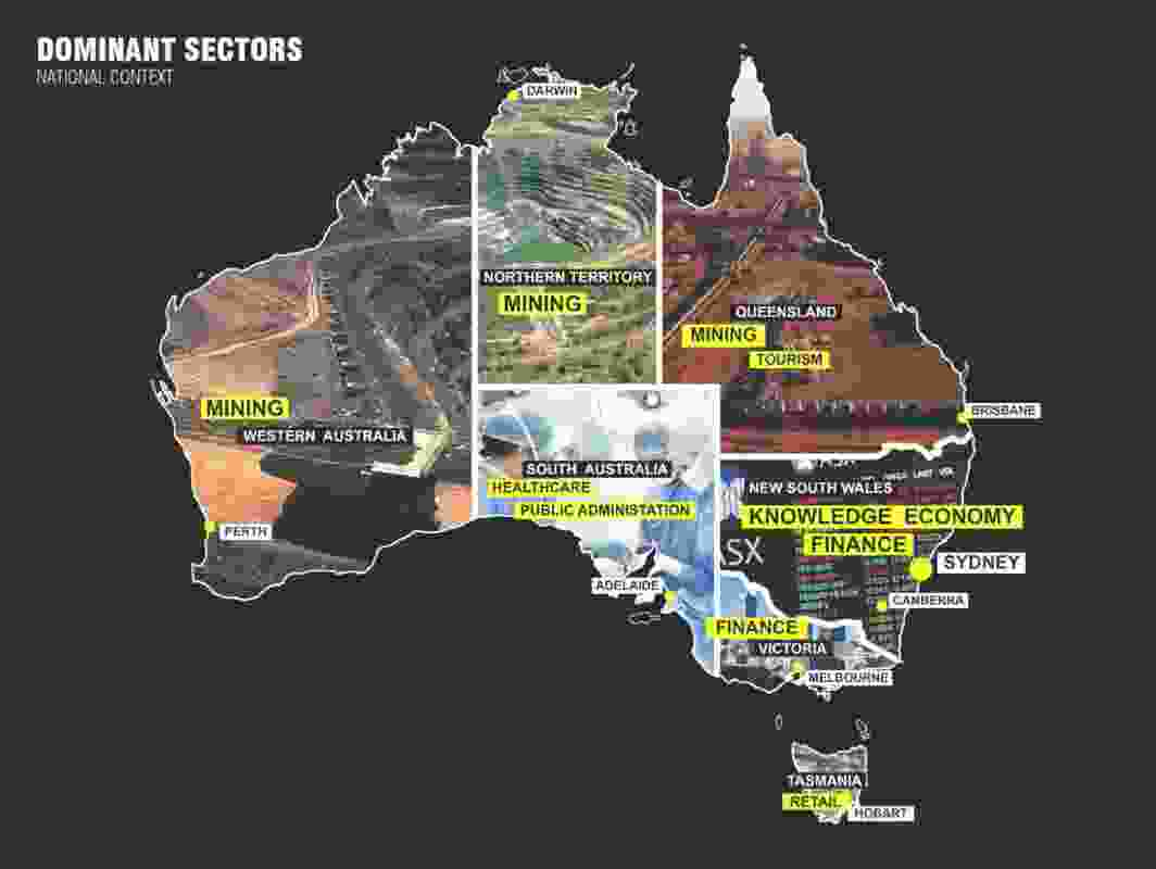 "A map of Australia defining its states and territories by its primary economic output. ""A big part of your country is actually supplying, out of the countryside, the liveability of the eastern side,"" said David Gianotten."