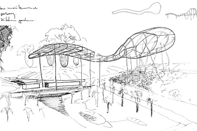 Concept sketch of the cloud arbour in the puddle garden.