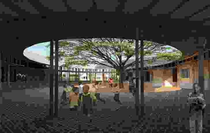 The Kenyan ecovillage's courtyard.