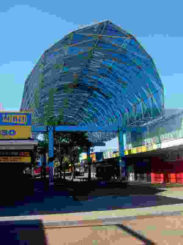 The abstracted fish canopies that gave a Pacific identity to the otherwise bland Otara Town Centre (1987).