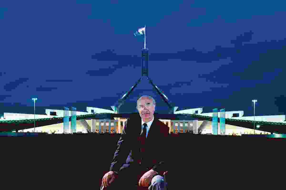 Romaldo Giurgola, pictured outside Parliament House in Canberra.