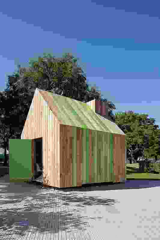 The structure is designed to sit alongside the home and is built from donated materials.