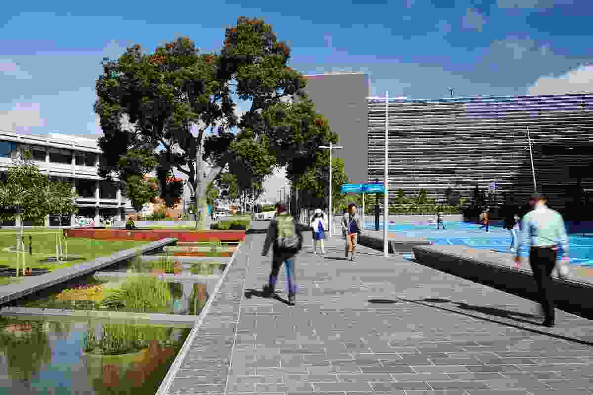 The landscape design hosts a myriad of activities as well as providing connectivity between surrounding campus buildings and transport hubs.