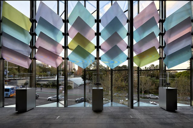 The new entrance to the Australian Museum in Sydney by Neeson Murcutt and Joseph Grech (architects in association) features 48 diamond-shaped glass blades and diffuse and refract light.