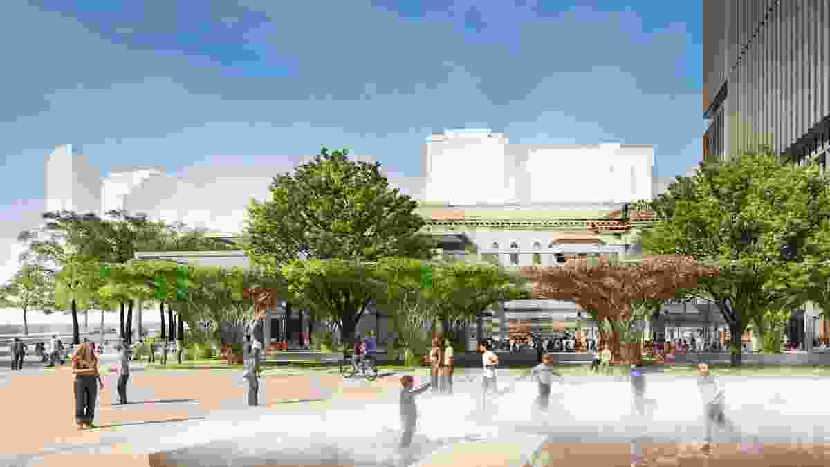New square in the proposed redevelopment of Adelaide Festival Plaza designed by ARM Architecture and Taylor Cullity Lethlean.