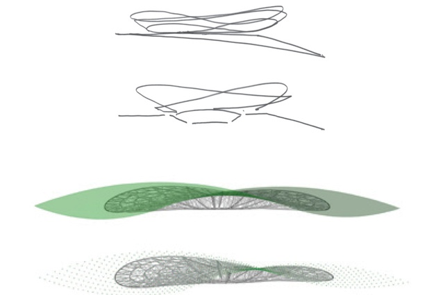 Concept sketches of the roof form.