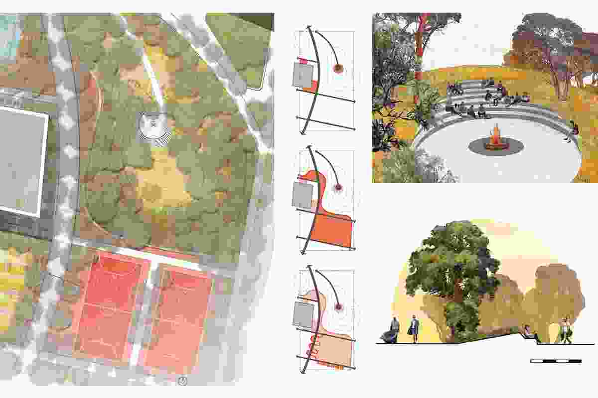 The Stitched Hill is transformed from a place of production to a learning landscape; agricultural and urban forms are softened with student activation and learning areas.