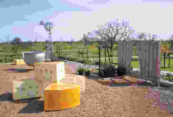 At Lehman's Farm Park, the designers have featured remnant footings and interpretive sculptures in reference to the former dairy farmhouse that was on the site.