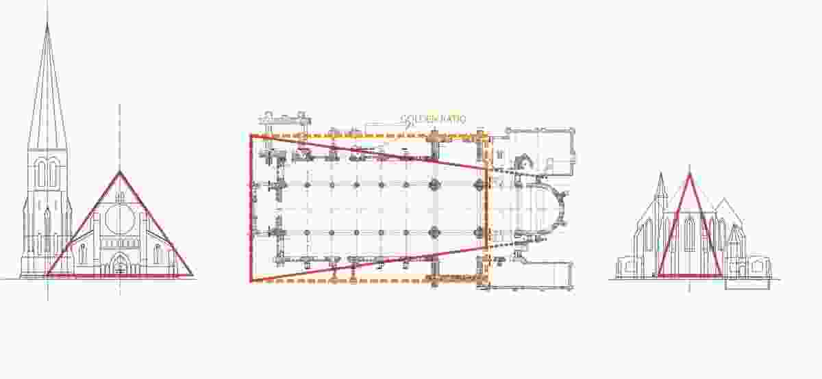 Proportion diagram of original Christchurch Cathedral: west elevation, east elevation and plan.
