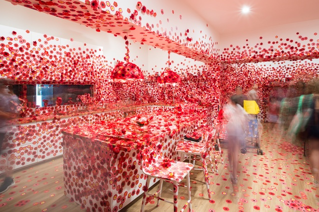 Exhibition image of Yayoi Kusama's <i>Flower Obsession</i> 2017 on display in NGV Triennial at NGV International 2017.