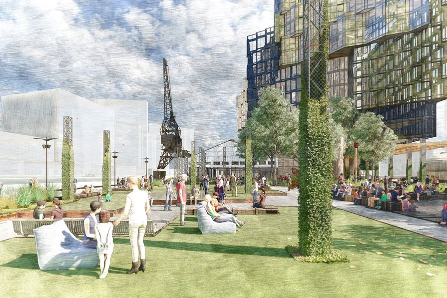 The proposed Seafarers Rest park in Docklands by Oculus in collaboration with the City of Melbourne.