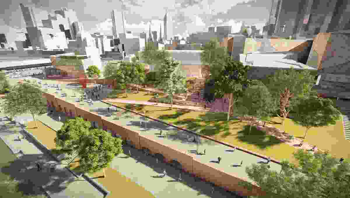 Landscape design for the proposed Apple store at Federation Square by Oculus.
