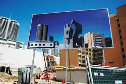 Jonathan Lake Architects' billboard, at the corner of Wellington and Milligan Streets, projects a new proposal against the existing skyline.