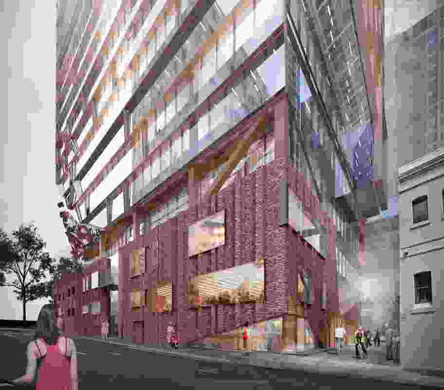 The tower at 271 Spring Street by John Wardle Architects cantilevers over the existing heritage buildings.
