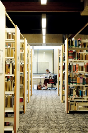 A student studying in one of the library's more private spaces.
