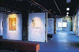 A temporary gallery in the lower riverside tenancy space.