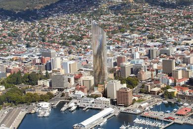 Aerial view of the proposed hotel in central Hobart, by Xsquared Architects.