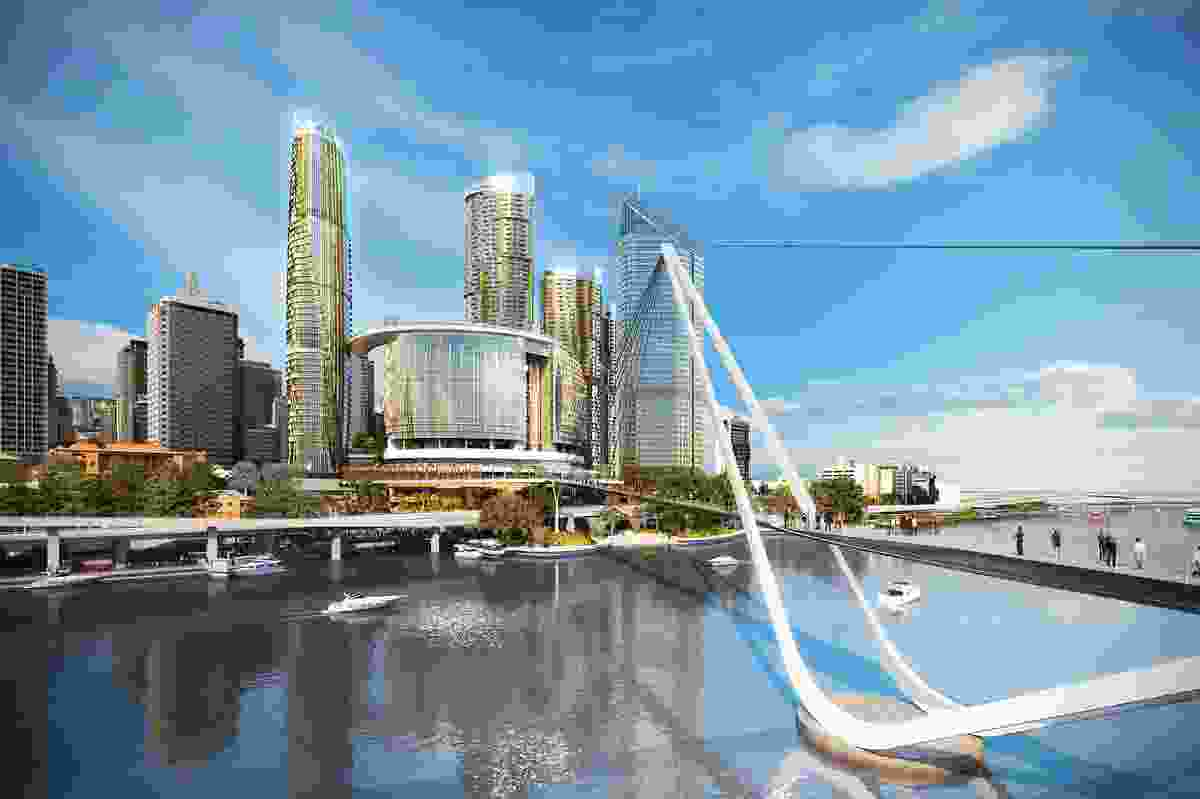 A proposed new pedestrian bridge across the Brisbane river designed by Grimshaw Architects.