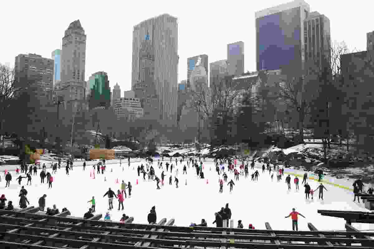 Ice skating in Central Park.