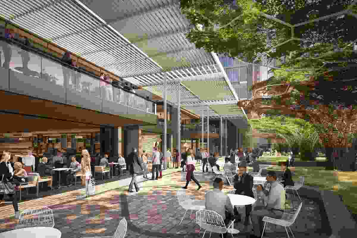 The proposed office tower designed by Bates Smart will be integrated with a new square in a redeveloped Adelaide Festival Plaza.