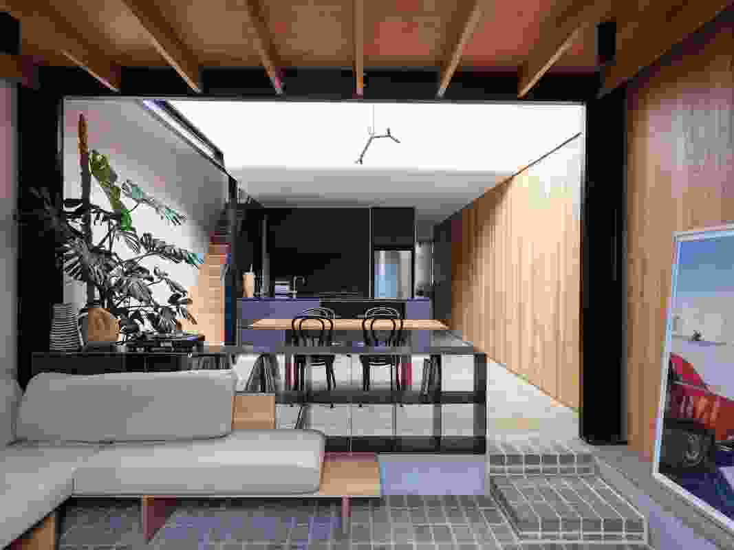 The varied ceiling, floor and light levels at North Fitzroy House create shifting atmospheres. Artwork: Josh Robenstone.