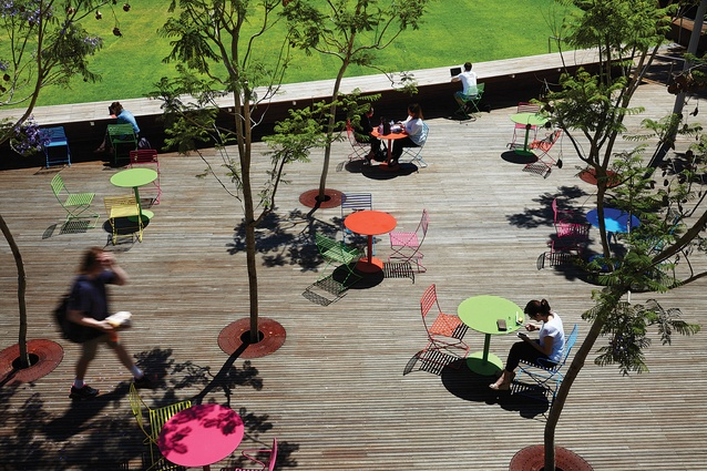 Various colourful seating arrangements can be configured within the grove of jacarandas at the southern edge of the Green.