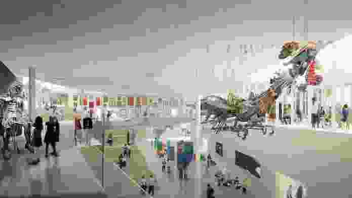 In progress image of Sydney Modern Project's atrium as produced by Kazuyo Sejima + Ryue Nishizawa / SANAA. Featuring artworks left to right: Michael Parekowhai, The English Channel, 2015, © Michael Parekowhai; Ugo Rondinone, clockwork for oracles, 2010, © Ugo Rondinone; Rusty Peters, Waterbrain, 2002, © Rusty Peters. Warmun Arts Centre. Licensed by Viscopy, Sydney; Emily Floyd, Kesh alphabet, 2017, © Emily Floyd; Xu Bing, Phoenix, 2010, © Xu Bing Studio; Mabel Juli, Garnkiny Ngarrangkarni, 2006, © Mabel Juli, courtesy Warmun Art Centre. Licensed by Viscopy, Sydney; Freddie Timms, Jack Yard, 2004, © Freddie Timms Estate. Licensed by Viscopy, Sydney.