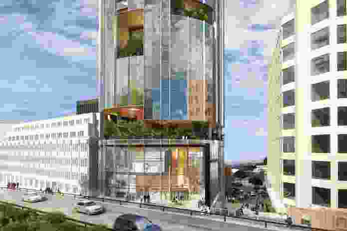 """The updated design for the proposed hotel by Xsquared Architects. The """"sky gardens"""" present in the original design have been concentrated on the Franklin Square-facing side."""