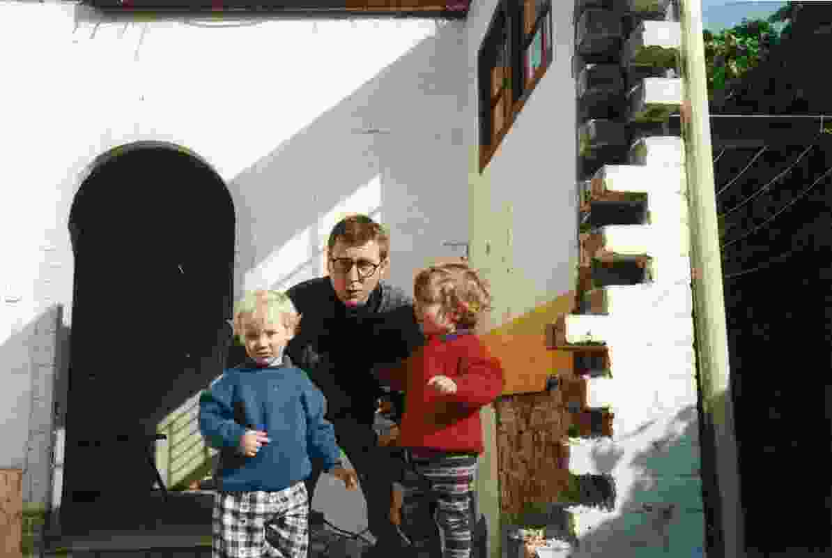 The terrible twos: Andrew Nimmo with two-year-old twins Max and Oscar in 1995, helping with demolition.