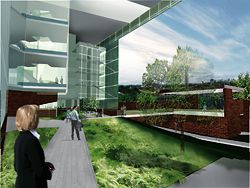 The winning entry by Wilson Architects and Donovan Hill (architects in association) for the Translational Research Institute.