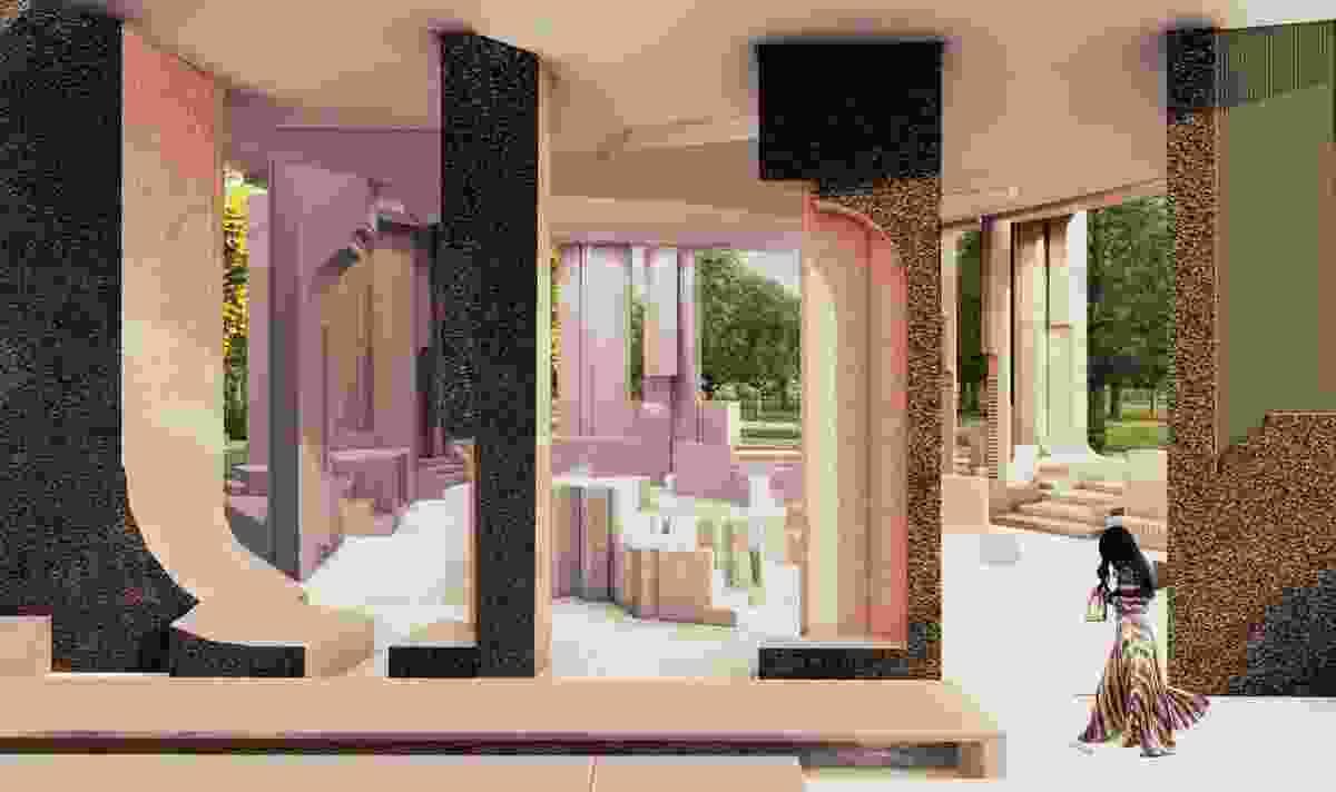 Serpentine Pavilion 2020 designed by Counterspace, Design Render, Interior View.