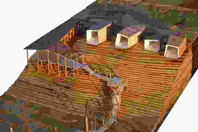 Schematic models of the Buvi Lodge, Lake Victoria, Uganda.