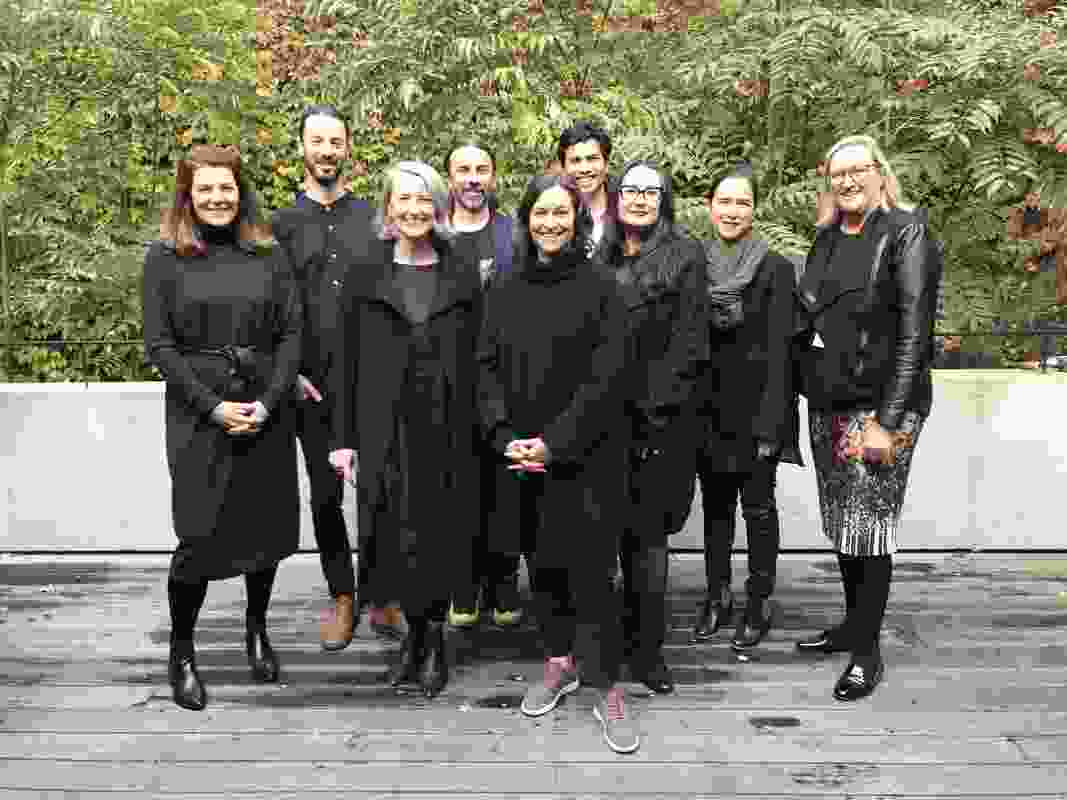 The 2019 National Architecture Conference captains' lunch. L–R: Clare Cousins, Andy Fergus, Monique Woodward, Timothy Moore, Kerstin Thompson, Stephen Choi, Tania Davidge, Shelley Penn, and Julia Cambage. Absent: Nic Brunsdon and Kieran Wong.