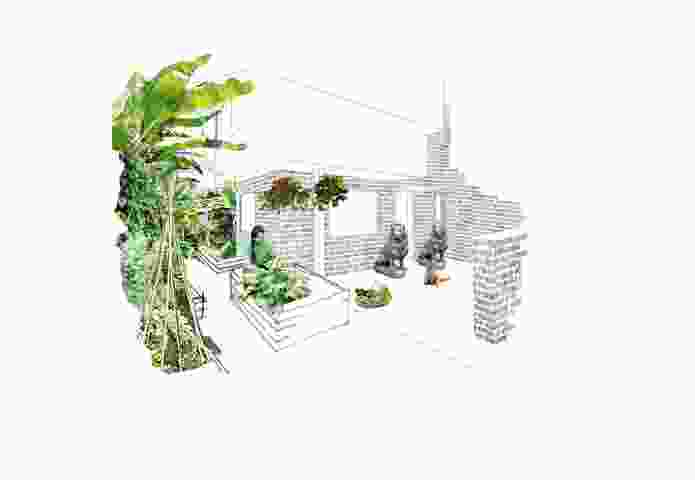 Schored Projects' diagrams illustrate their hybrid approach to the project's shared spaces; a driveway doubles as a productive gardening space, for instance.