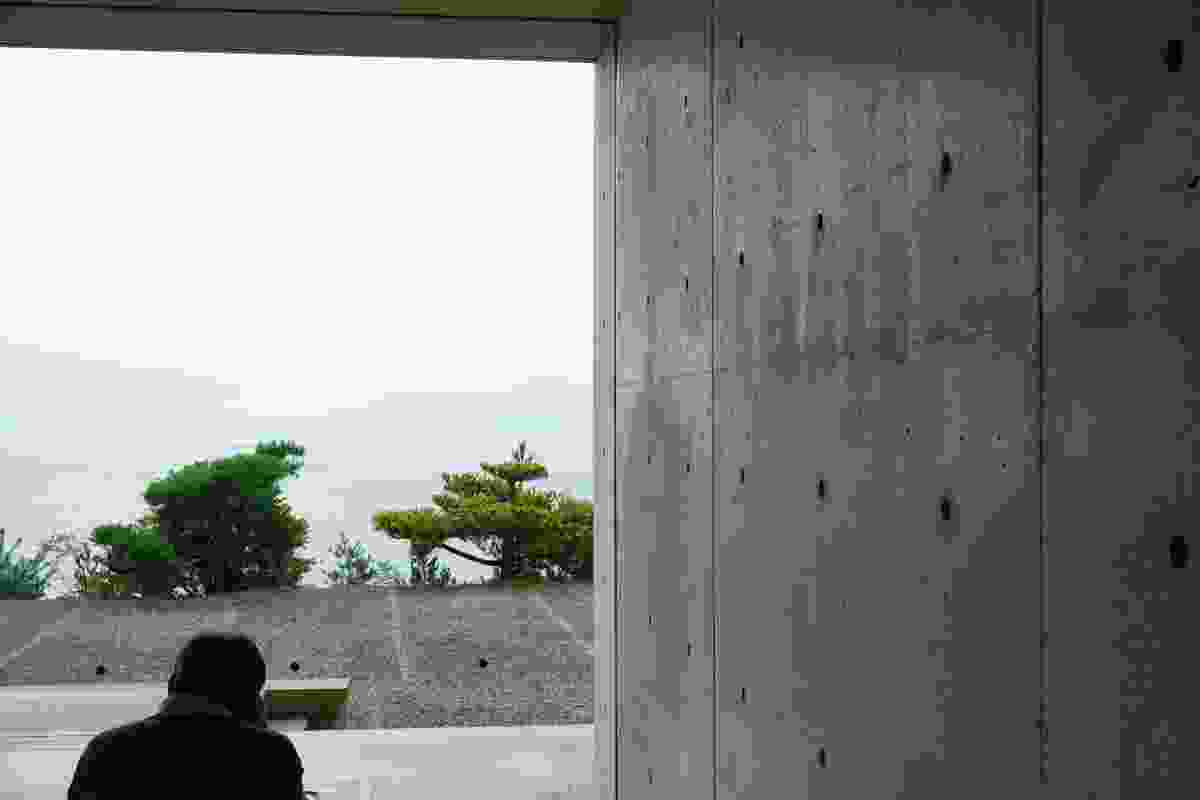 Chichu Art Museum by Tadao Ando, Kagawa. The frameless window slots neatly into a concrete panel joint to form an almost seamless connection to the external space.