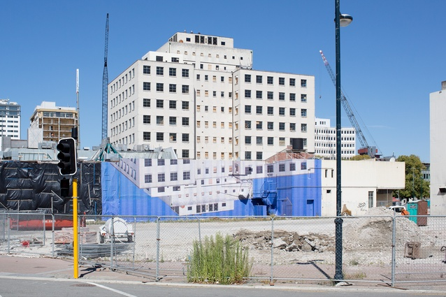 'Government Life Suspension' (installation view), 2013, digital print shrouding structure slated for demolition, Christchurch, New Zealand