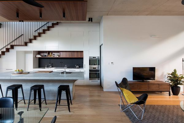 The new living areas are minimal and clean, heightened by a three-metre-high ceiling and a deliberate lack of embellishment.