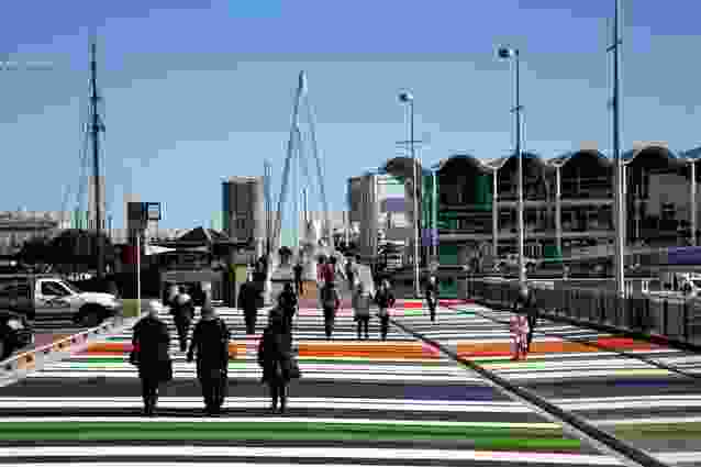 The approach to Wynyard Quarter via Wynyard Crossing, a bridge linking the Viaduct with Wynyard Quarter's Jellicoe Street, North Wharf promenade and the Viaduct Events Centre.