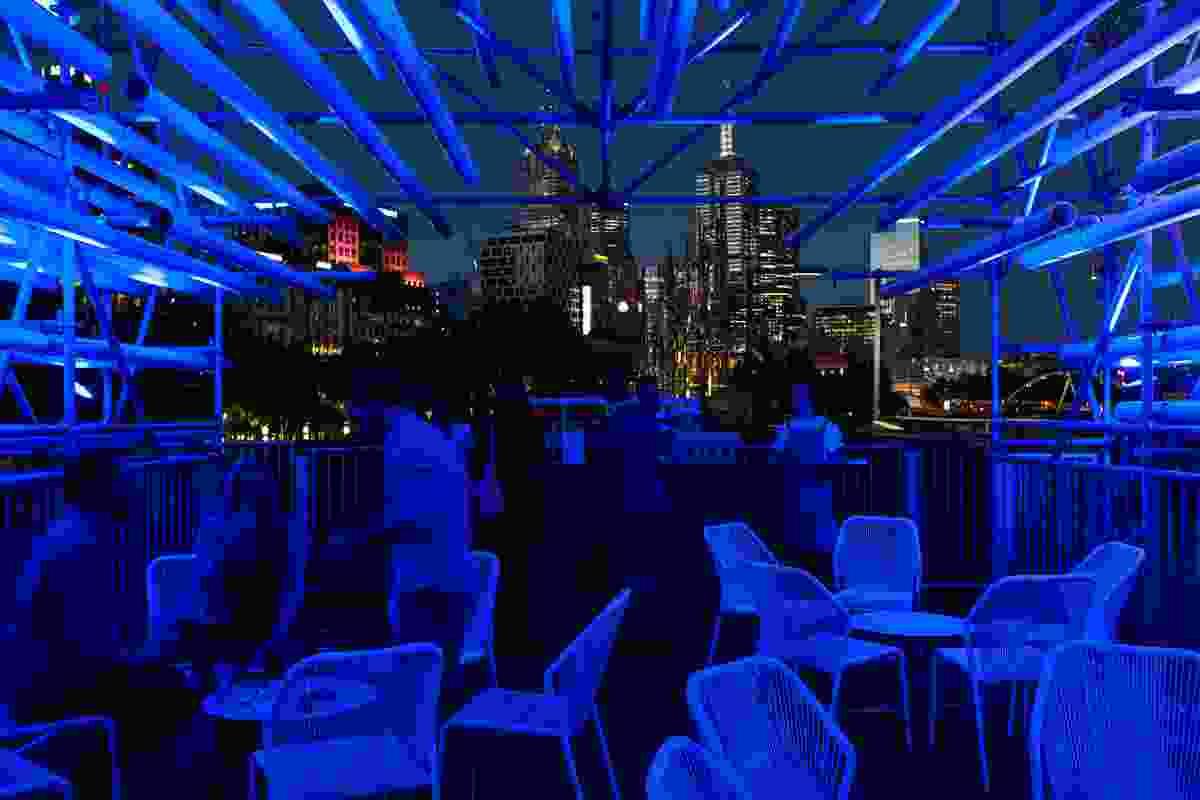 At night, the Cloud turns a futuristic electric blue.