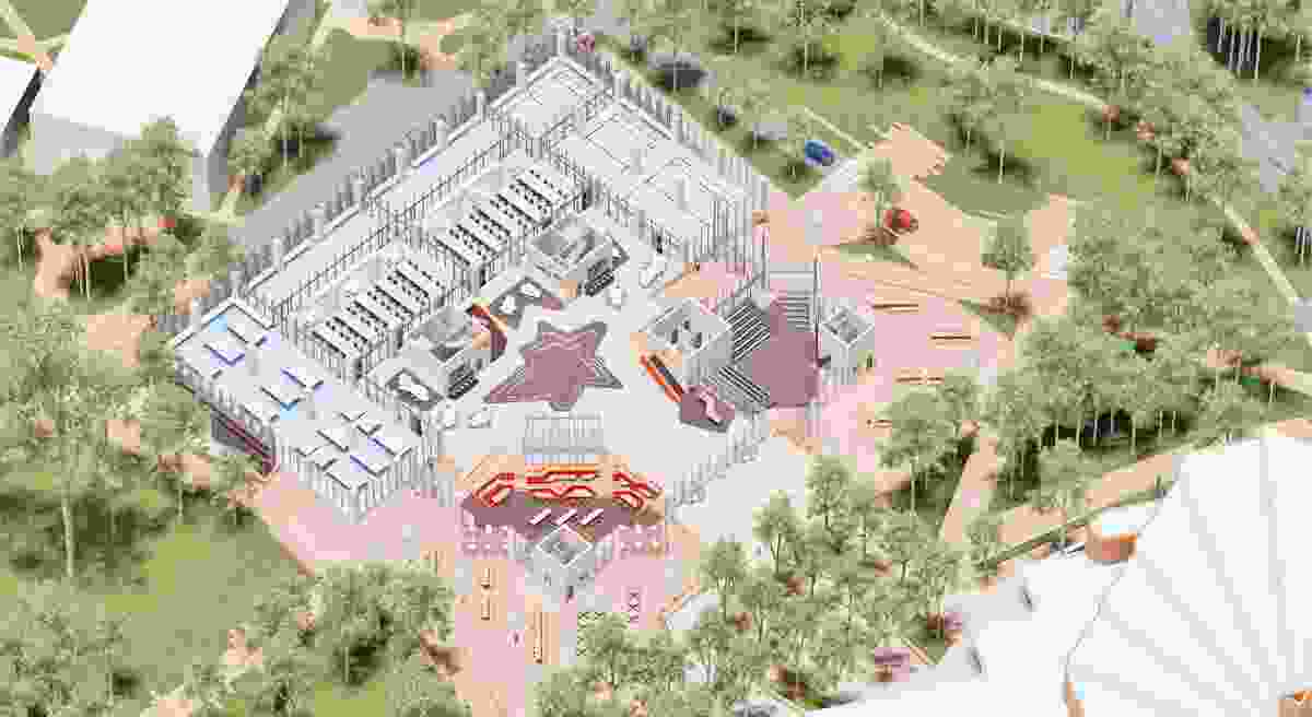 An axonometric diagram of the ground floor and plaza of the STEMM Building at University of Newcastle by Lyons and EJE Architecture.