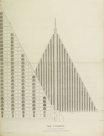 The Pyramid to Contain Five Millions of Individuals Designed for the Centre Of The General Cemetry [sic] of the Metropolis (engraving, c1829). This radical concept for a ninety-four-storey cemetery on London's Primrose Hill was conceived by architect Thomas Willson as a solution to the city's overcrowded burial grounds.