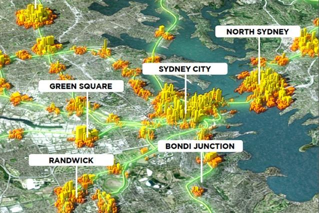 Visualisation describing potential densities in Sydney's transport centres